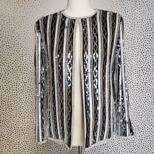 Papell Boutique Evening Black & Silver Blazer
